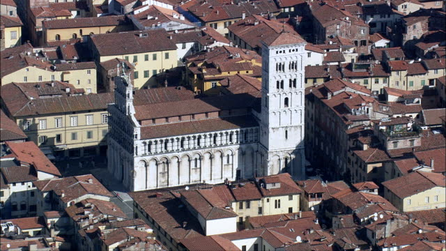 san michele in foro  - aerial view - tuscany, provincia di lucca, lucca, italy - tuscany stock videos and b-roll footage