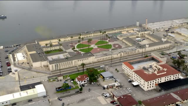 ktla san pedro ca us aerial view of terminal island prison where many prisoners have tested positive for coronavirus on wednesday april 29 2020 - sick prisoner stock videos & royalty-free footage