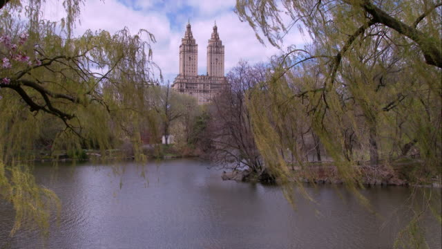 san remo overlooking the lake in central park on a spring day - remo stock videos and b-roll footage