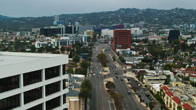 san vicente boulevard in beverly hills looking to west hollywood - aerial - west hollywood stock videos & royalty-free footage