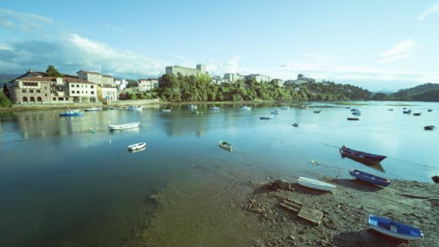 San Vicente de la Barquera town in Santander, Cantabria - Time lapse