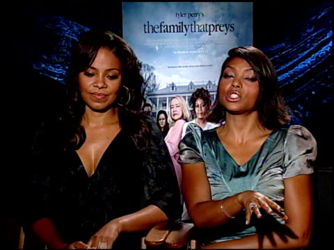 sanaa lathan and taraji p henson on being sisters in th emovie and completely different in personalities at the the family that preys junket at los... - taraji p. henson stock videos and b-roll footage