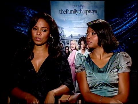 sanaa lathan and taraji p henson on the lack of strong female characters in films today at the the family that preys junket at los angeles ca - taraji p. henson stock videos and b-roll footage