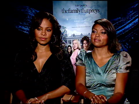 sanaa lathan and taraji p henson on what it means to be in a tyler perry movie at the the family that preys junket at los angeles ca - taraji p. henson stock videos and b-roll footage