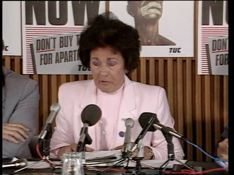sanctions england london shirley carr commonwealth tuc chairperson speaking at press conference chris dlamini congress of safrica unions speaking... - british empire stock videos & royalty-free footage