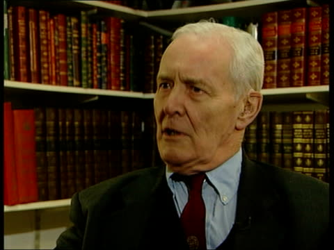 stockvideo's en b-roll-footage met robin cook statement/response; itn england: london int tony benn mp interviewed sot - world opinion has turned against what the government did, and... - tony benn