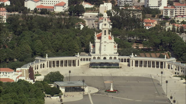 aerial ws sanctuary of our lady of fatima and plaza / fatima, leria, portugal - shrine stock videos and b-roll footage
