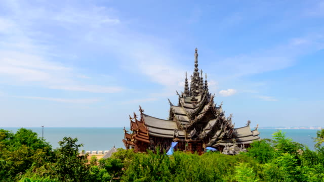 sanctuary of truth - pattaya stock videos & royalty-free footage