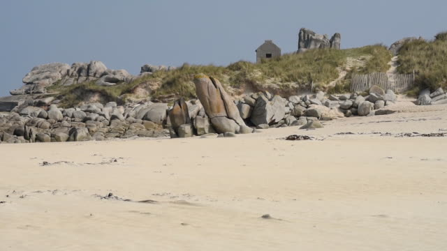 Sand and Rock formations on the beach-Finistere.