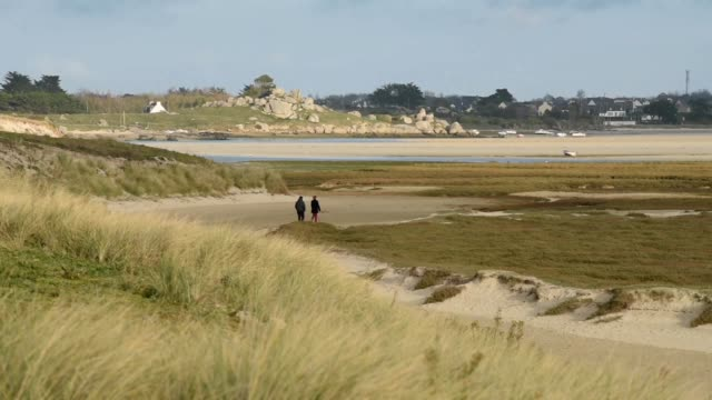 Sand dunes at Keremma across to Plouescat-Finistere
