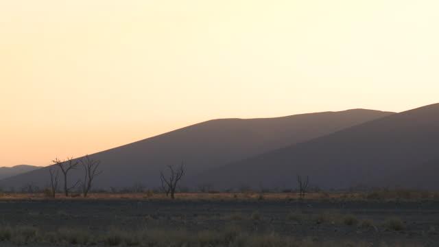 sand dunes in hazy evening light, sossusvlei, namib-naukluft, namibia - 熱波点の映像素材/bロール