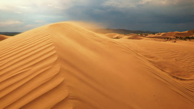 vidéos et rushes de sand dunes in the desert at sunset. strong wind - air raid