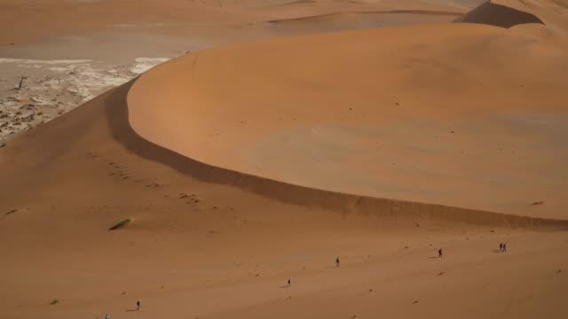 sand dunes of namib desert at sunrise - namibian desert stock videos and b-roll footage