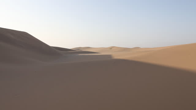 april 2: sand dunes stand on a desert near swakopmund, in namibia, on april 2, 2019. located on the coast of namibia and close to the namib desert,... - sand stock videos & royalty-free footage