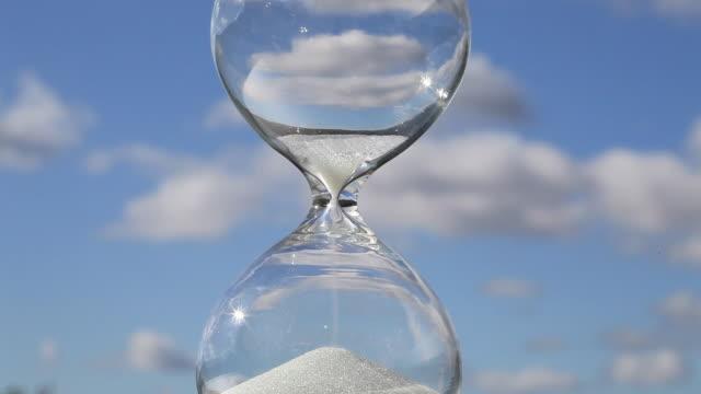 Sand runs through glass hourglass