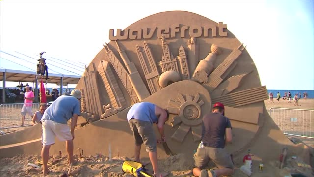 sand sculpture at wavefront music festival at montrose beach on july 06, 2013 in chicago, illinois - sculpture stock videos & royalty-free footage