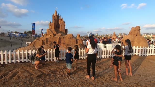 sand sculptures on show at the first international sand sculpture festival starring leading artists and all time favorite mythical heroes taking... - ashkelon stock videos and b-roll footage