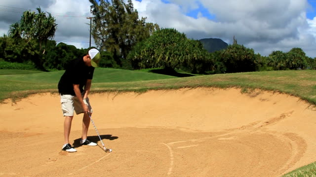 sand trap golf shot - golfer stock videos and b-roll footage