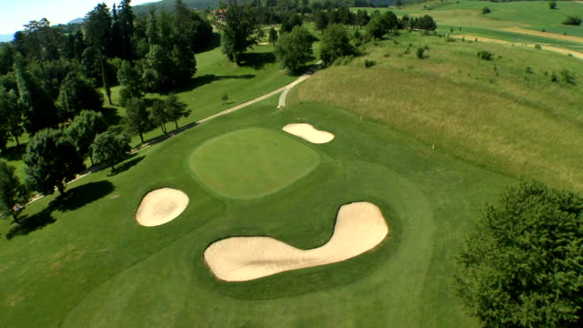 AERIAL Sand Traps On The Golf Course