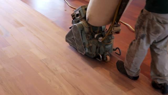 sanding old wood flooring - sander stock videos & royalty-free footage