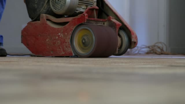 sanding the old wooden floor - sander stock videos and b-roll footage