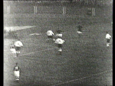 Sandor Kocsis header comes back off post and eventually breaks to Jozsef Bozsik who drives ball home from distance for 25 lead England vs Hungary...