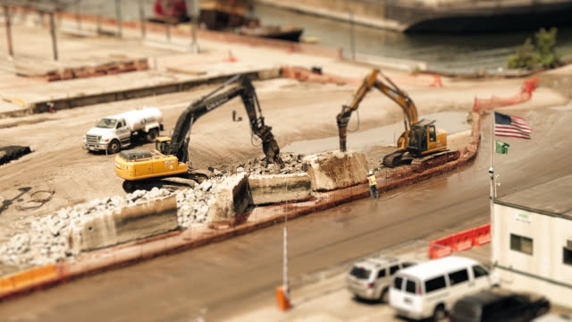 sandpit - digger pair c - tilt shift stock videos and b-roll footage