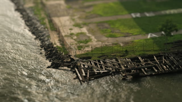 sandpit - river edge b - tilt shift stock videos and b-roll footage
