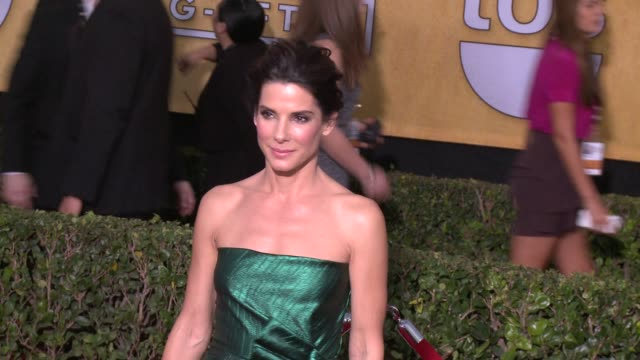 sandra bullock at 20th annual screen actors guild awards arrivals at the shrine auditorium on in los angeles california - シュラインオーディトリアム点の映像素材/bロール