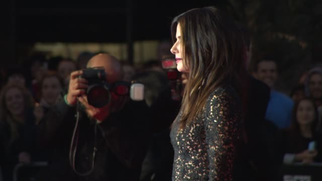 sandra bullock at 'gravity' red carpet at odeon leicester square on october 10, 2013 in london, england - sandra bullock stock videos & royalty-free footage