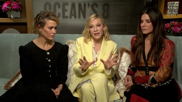sandra bullock cate blanchett and sarah paulson discuss their new film ocean's 8 and what it is now like for women working in media - sandra bullock stock videos & royalty-free footage