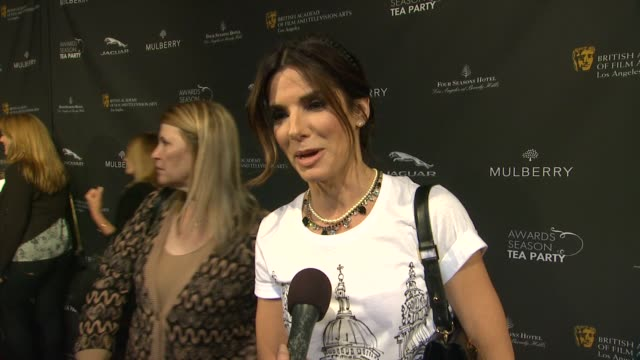 sandra bullock on being a part of the afternoon, what bafta's support means to her, the last time she had high tea at bafta 2014 awards season tea... - サンドラ・ブロック点の映像素材/bロール