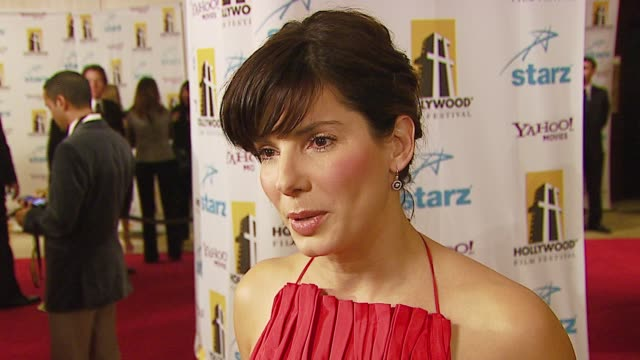 sandra bullock on how she feels about receiving supporting actress award, her favorite films and why at the hollywood film festival 10th annual... - sandra bullock stock videos & royalty-free footage
