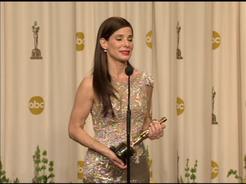 sandra bullock on receiving a razzy and an oscar at the 82nd annual academy awards press room at hollywood ca - sandra bullock stock videos & royalty-free footage