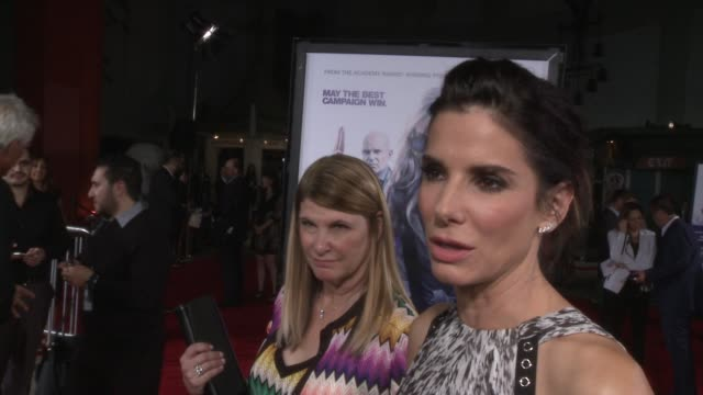 "sandra bullock on what it means to have the film premiering at the tcl chinese theatre at the ""our brand is crisis"" los angeles premiere at tcl... - サンドラ・ブロック点の映像素材/bロール"