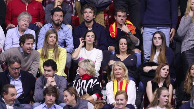 sandra gago and victor lopez during day of the 2019 david cup at la caja magica - davis cup stock videos & royalty-free footage