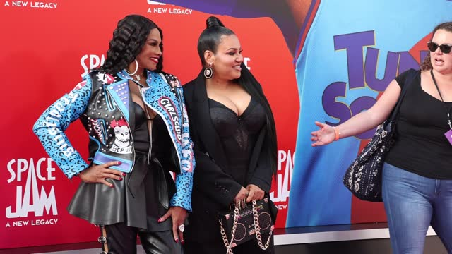 """sandra jacqueline denton and cheryl renee james attends the premiere of warner bros """"space jam: a new legacy"""" at regal live on july 12, 2021 in los... - space jam stock videos & royalty-free footage"""
