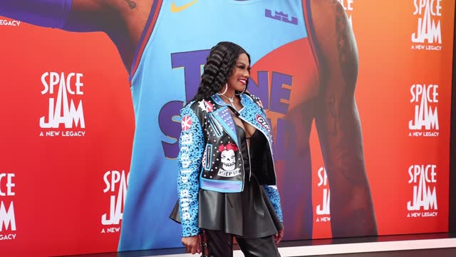 """sandra jacqueline denton attends the premiere of warner bros """"space jam: a new legacy"""" at regal live on july 12, 2021 in los angeles, california. - space jam stock videos & royalty-free footage"""