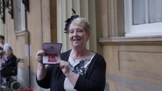 Sandra Major a former colleague of the late politician Jo Cox who witnessed the killing receives an MBE for parliamentary services and service to the...