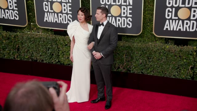 Sandra Oh and Andy Samberg at 76th Annual Golden Globe Awards Arrivals at The Beverly Hilton Hotel on January 06 2019 in Beverly Hills California 4K...