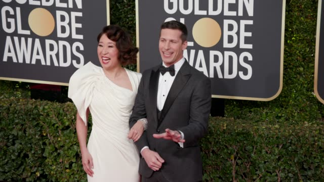 sandra oh and andy samberg at 76th annual golden globe awards - arrivals at the beverly hilton hotel on january 06, 2019 in beverly hills, california... - golden globe awards stock videos & royalty-free footage