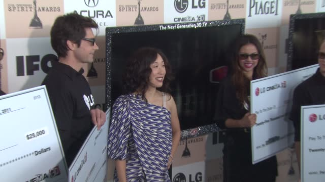 sandra oh at the 2011 independent spirit awards - arrivals at santa monica ca. - independent feature project stock videos & royalty-free footage