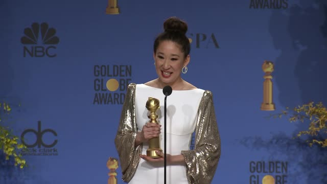 stockvideo's en b-roll-footage met speech sandra oh at the 76th annual golden globe awards press room at the beverly hilton hotel on january 06 2019 in beverly hills california - golden globe awards