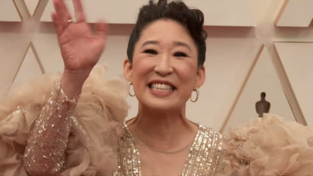 sandra oh walking the red carpet at the 92nd annual academy awards at the dolby theater in los angeles, california. - music or celebrities or fashion or film industry or film premiere or youth culture or novelty item or vacations 個影片檔及 b 捲影像