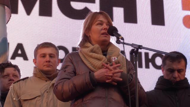 Sandra Rulofs wife of former Georgian president Mikheil Saakashvili speaks during a rally of Saakashvili's supporters who protest against...