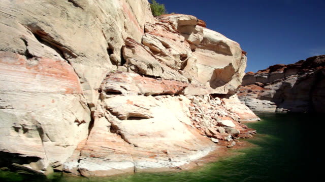 sandstone formations at lake powell - anasazi stock videos & royalty-free footage