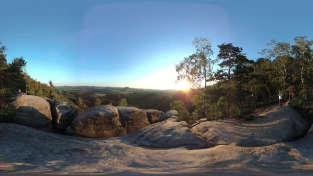 sandstone rocks with mountain forest by sunset, tourist destination, vr 360, 360 vr, equirectangular panoramic, monoskopic - equirectangular panorama stock videos & royalty-free footage