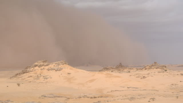 a sandstorm blows through a desert. available in hd. - sandstorm stock videos & royalty-free footage