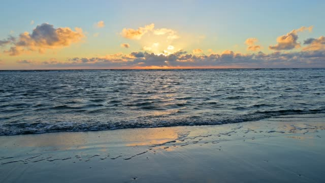 sandy beach at sunset, norderdeich, sankt peter-ording, north friesland, north sea, schleswig-holstein, germany - north sea stock videos & royalty-free footage