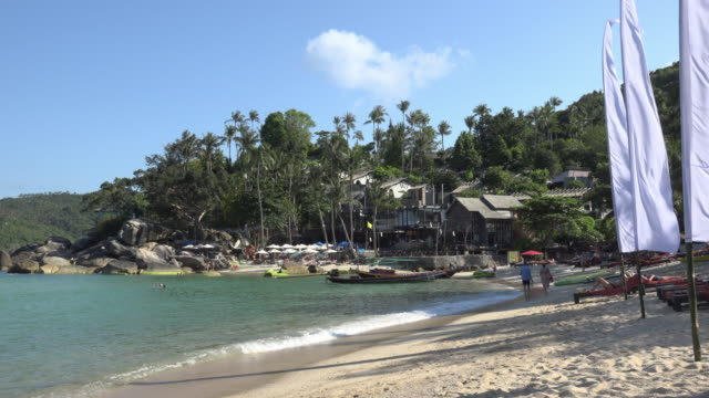 sandy beach in a bay - gulf of thailand stock videos & royalty-free footage